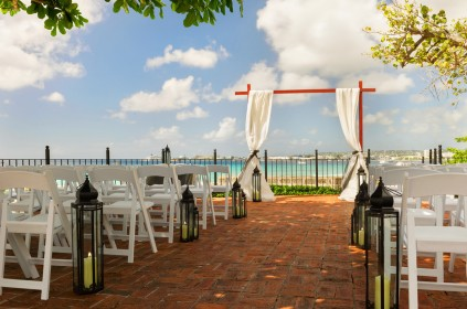 Charles Fort Ocean Deck Wedding Set Up