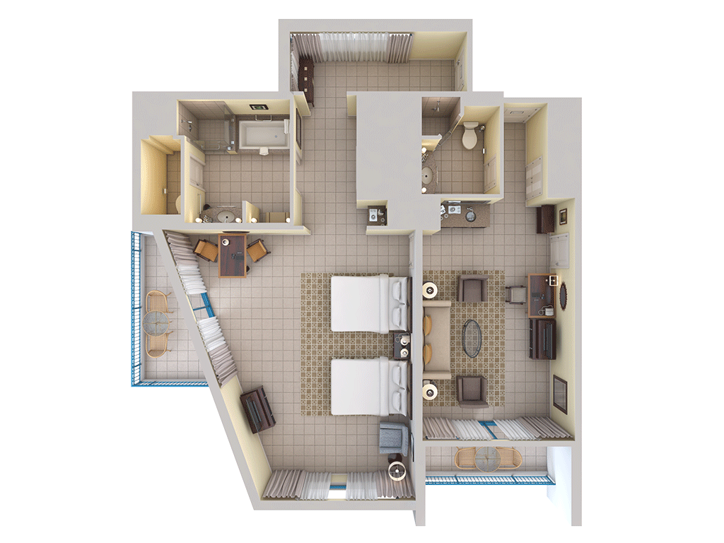 1 Room Studio Apartment Floor Plan