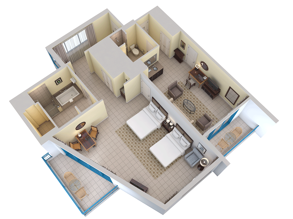 3d floor plans hilton barbados resort for Bayview apartments seattle